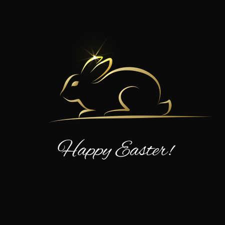 tarjeta de felicitación de Pascua con el esquema de conejo. silueta del conejito de oro. símbolo de Pascua