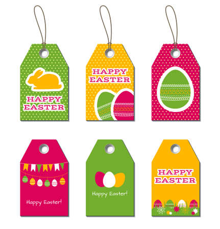Happy birthday tags birthday greetings small gift cards labels easter tags easter greetings small gift cards for easter design with bunny and eggs negle Image collections
