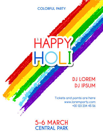 dhulandi: Happy Holiday party invitation poster. Banner design for indian festival of colours Illustration