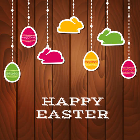 easter background: Easter greeting card with hanging stickers on a wooden background