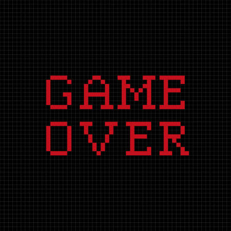 red and black: Game over pixel text message. Pixel art