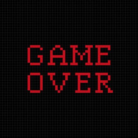 black sign: Game over pixel text message. Pixel art