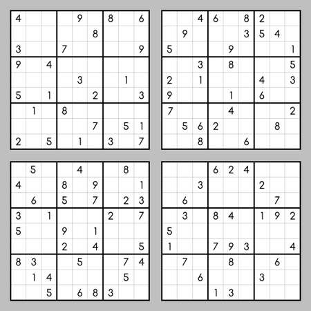 set of sudoku. Puzzles with numbers 矢量图像