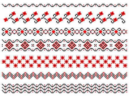 lappet: Set of embroidered ukrainian style lines Illustration