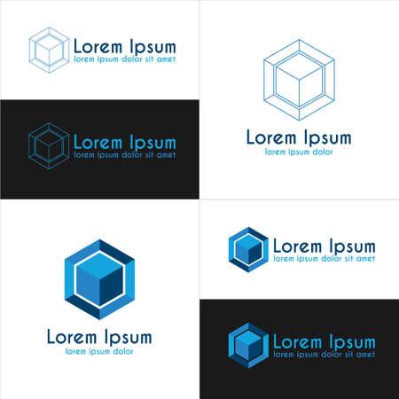 tessera: Blue cube templates. Business