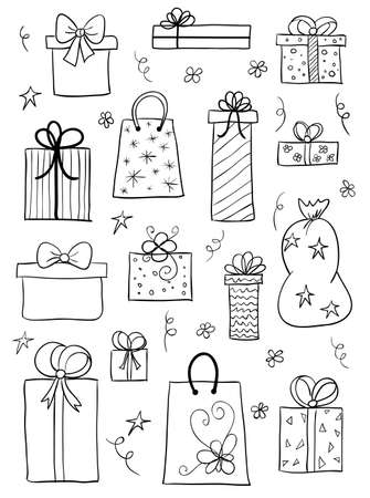 Set of gift boxes. sketch of gift boxes, presents for birthday, anniversary, wedding design Illustration
