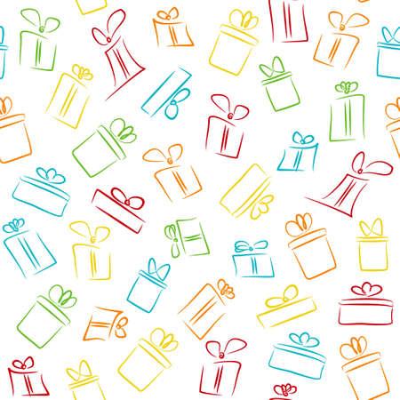 Biały wzór z kolorowych zabawnych pudełek na prezent. wzór do nadruku na tkaninie, papier do pakowania, projekt karty podarunkowej Ilustracje wektorowe