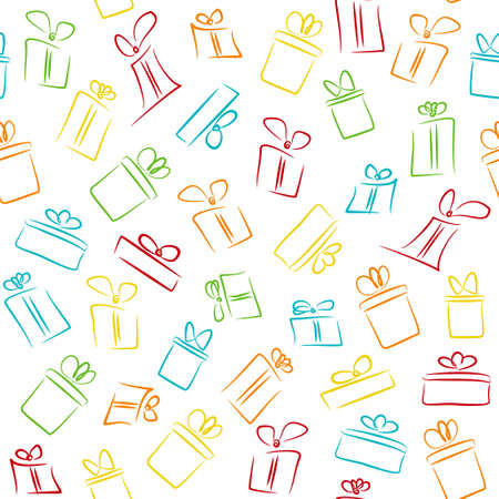 Seamless white pattern with colorful funny gift boxes. pattern for fabric print, wrapping paper, gift card design