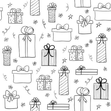 Seamless pattern with hand drawn gift boxes. May be used as a coloring book