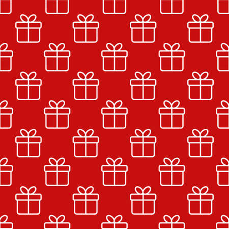 gift paper: Seamless red pattern with gift boxes in a line style. Wrapping paper, fabric print design