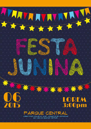 june: Brazil june party invitation poster. Festa junina poster