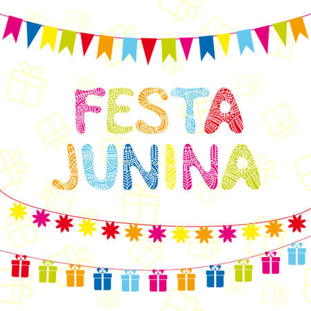 Brazil june party. Greeting card with festive garlands