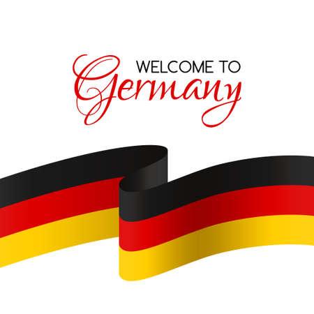 Benvenuti in Germania Welcome Card con la bandiera nazionale della Germania Archivio Fotografico - 56109848