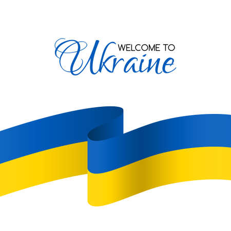 ukraine: Welcome to Ukraine welcome card with national flag of Ukraine