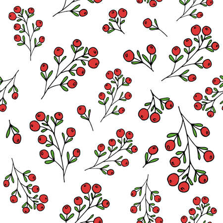 twigs: Red berries pattern seamless pattern for fabric print, wallpaper, wrapping paper design