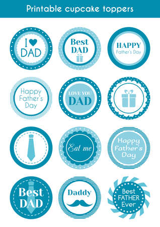 printable: Printable cupcake toppers for fathers day. set of labels, stickers, cupcake toppers