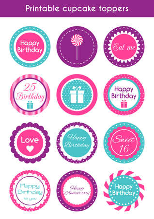 Printable cupcake toppers. set of round bright cupcake toppers, labels for birthday party