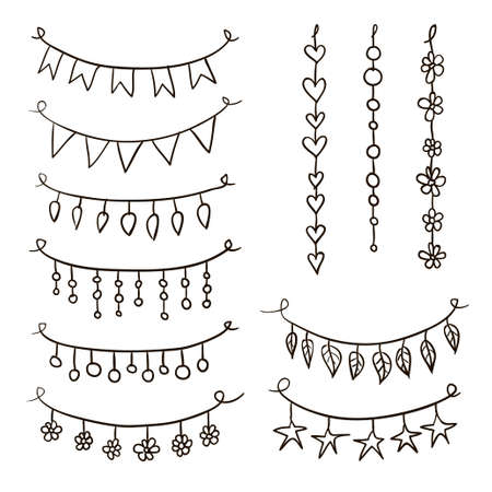 strings: Set of hand drawn garlands. Collection of birthday party bunting festive garlands