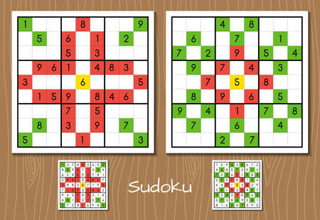 Sudoku. Vector set of two hard level sudoku game