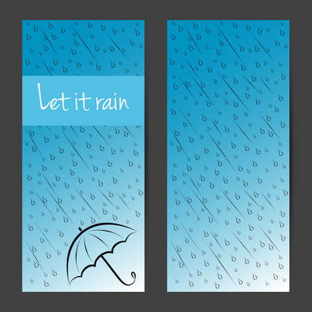 Vector vertical banners, cards, brochures set. Let it rain