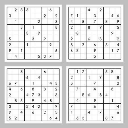 Vector set of sudoku game Illustration