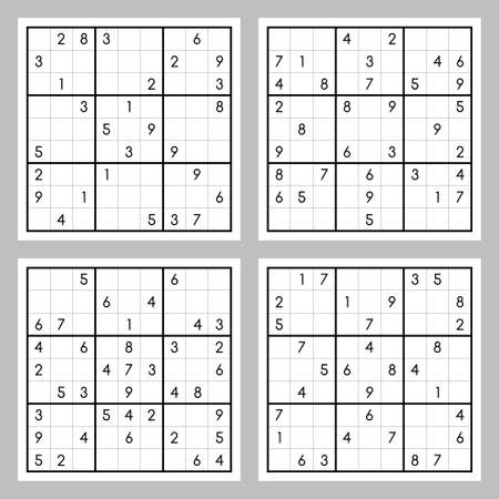 Vector set of sudoku game Illusztráció