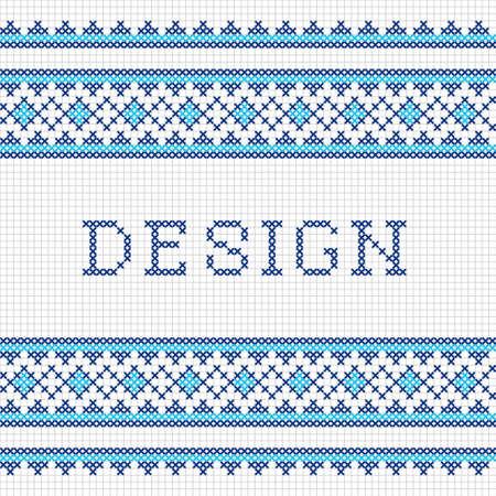 punto de cruz: diseño de punto de cruz costura decorativa. bordado del vector