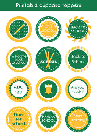 printable: Back to school printable cupcake toppers. Illustration