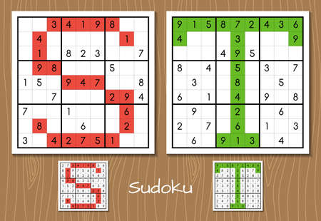 Sudoku vector set with answers. S, T letters