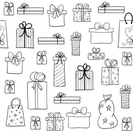 christmas gift: Seamless vector christmas pattern with hand drawn gift boxes. May be used as a coloring book Illustration
