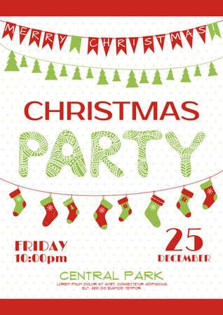 Weihnachtsparty Einladung festliche Plakat. Vektor-Vorlage