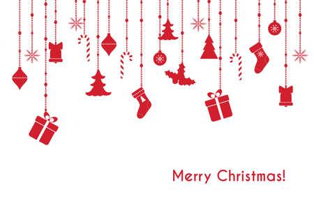vector de la tarjeta de felicitación roja con cuelgan los juguetes de navidad, cajas de regalo Ilustración de vector