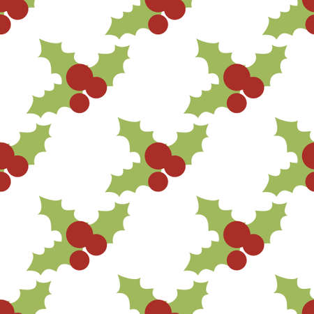 christmas wrapping: Vector seamless pattern with holly berries. Christmas wrapping paper background. Pattern for fabric print, cards design