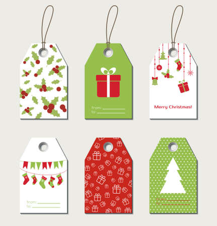 christmas gift: Christmas gift tags. Vector gift labels, tags Illustration