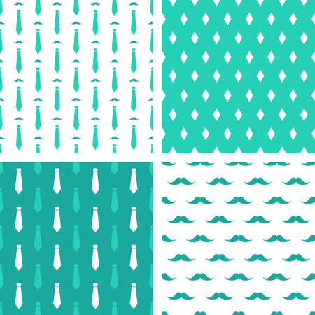 Vector hipster patterns. Set of printable seamless fashion backgrounds. Mustaches and neckties