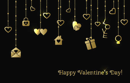 strings: Card for Valentines Day with hanging gold hearts, gift, letter