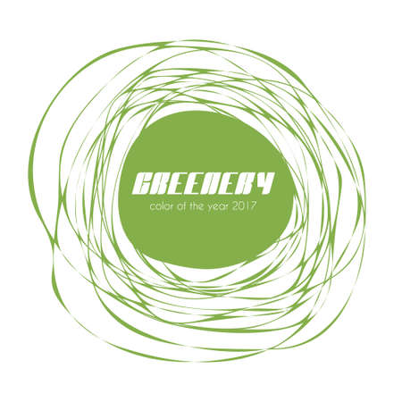 awry: Greenery - color of the year 2017. Vector label Illustration