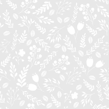 Floral seamless pattern with flowers and plants