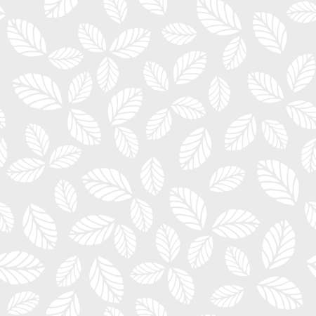 minimal: Monochrome seamless vector pattern with leaves