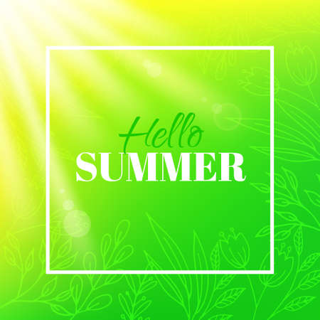 Hello summer. Banner with frame and typographic design. Bright background with leaves, flowers and sun.
