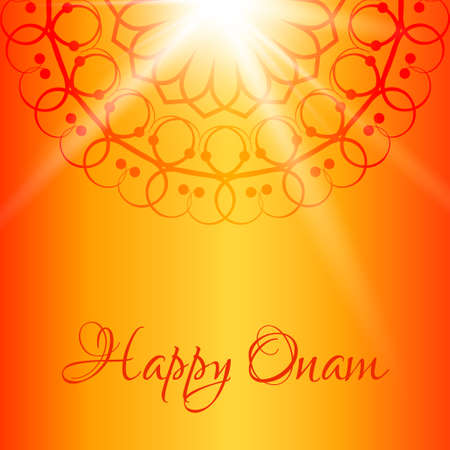 onam: Happy Onam greeting card with orange background.