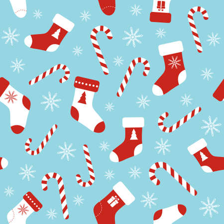 Christmas vector seamless blue pattern with candy canes, christmas socks and snowflakes