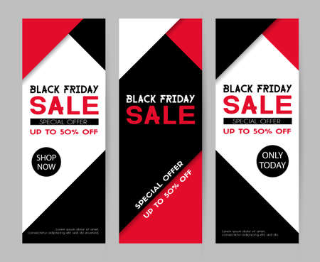 Set of special holiday sale banners for promotional template design. Illustration