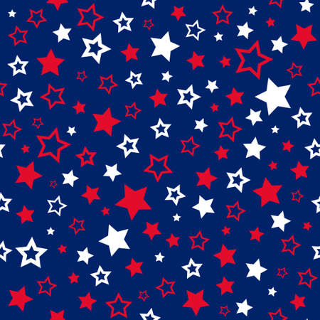 Stars borderless pattern in USA colors; Pattern for gift wrapping paper, fabric print, festive card design 일러스트
