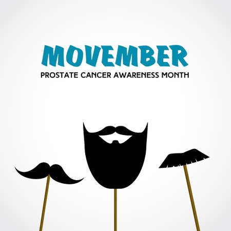 Movember. Prostate cancer awareness month. Vector with mustache props Ilustrace