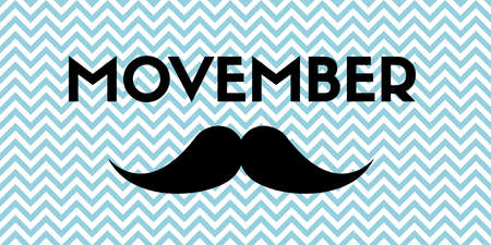 Movember. Banner with mustache and chevron pattern