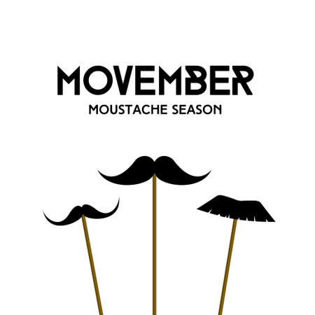 Movember. Mustache season. Vector minimal card with mustache masks on sticks