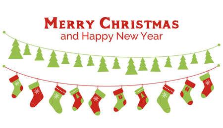 Christmas stockings and christmas tree garlands. Vector banner, greeting card