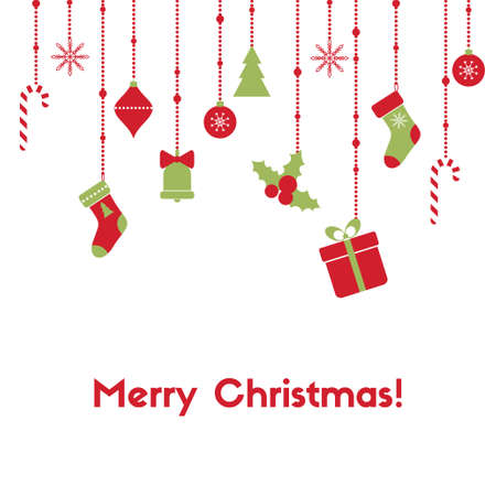 Merry Christmas. Vector greeting card with hanging garlands, christmas toys, gift box, candy canes, stockings