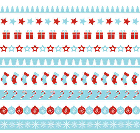 Christmas vector borders. Seamless endless ornament for washi tapes, wrapping paper, greeting cards design